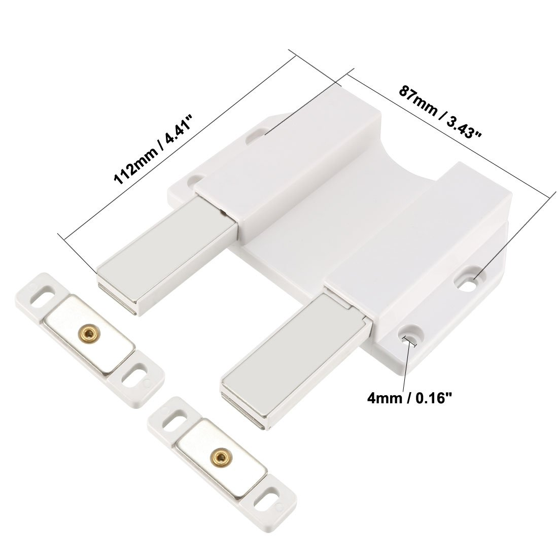 uxcell 5-8mm Glass Door Magnetic Touch Catch Latch Closure Plastic White with Clamp 2 Set