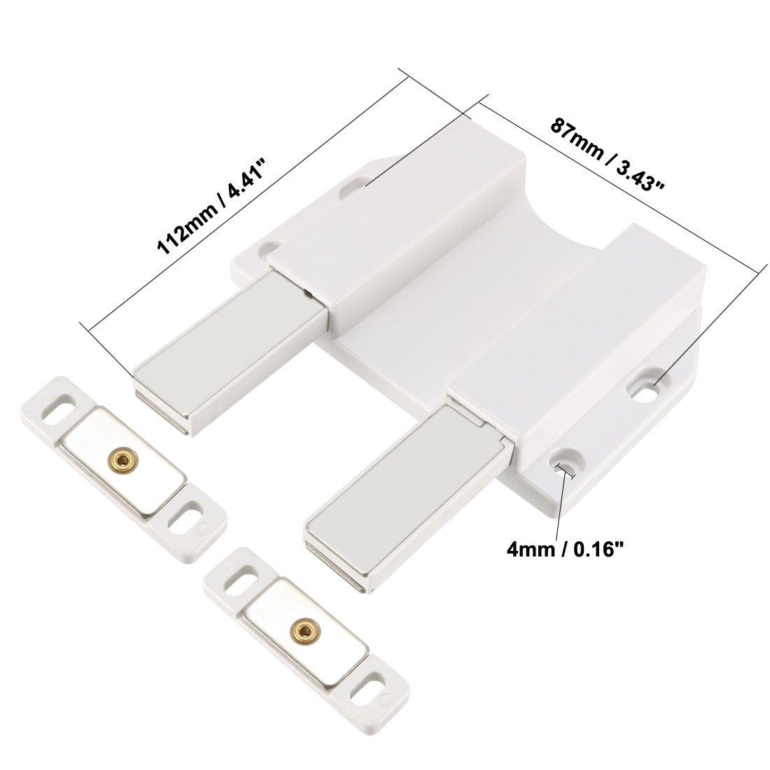 sourcing map 5-8mm Porte en verre /à fermeture magn/étique avec fermeture /à loquet Blanc avec pince