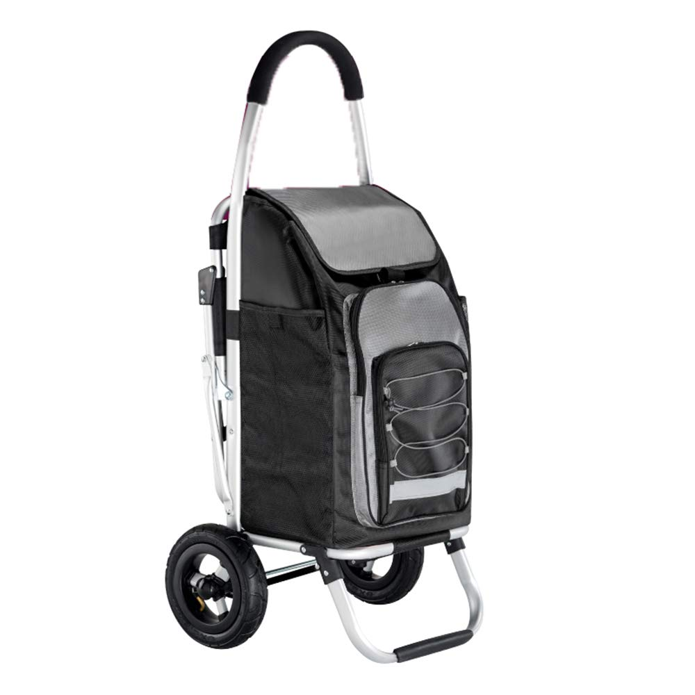 Qing MEI with Seat Stool Shopping Cart Old Man Buy Food Cart Small Pull Cart Foldable Trolley Car Seat Portable Trailer A++