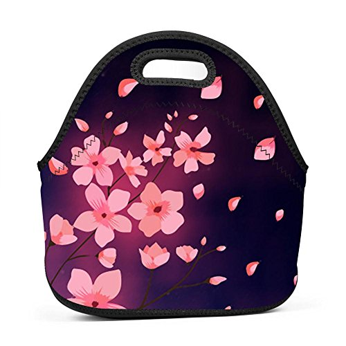 - UNVMC Cherry Blossom Reusable Cotton Lunch Bag Insulated Lunch Tote Soft Bento Cooler Bag Lunch Box for Women Kids Students
