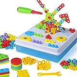 Linxtech Design & Create Construction Building Toys Tool kit Mosaic Puzzle Jigsaw Puzzles Pegboard Building Blocks Game (189 pcs)