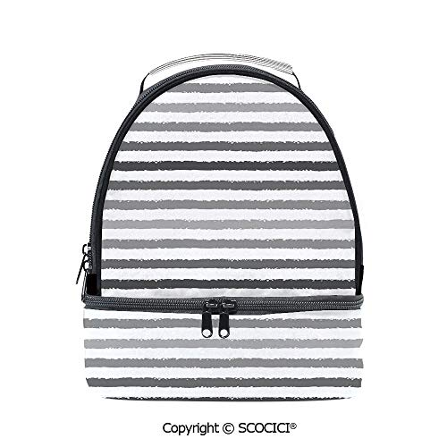 SCOCICI Large Capacity Durable Material Lunch Box Gray and White Stripes Monochrome Tone Brush Style Lines Grunge Retro Print Multipurpose Adjustable Lunch Bag