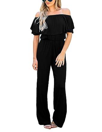 22e7729887 Amazon.com  Utyful Women Off Shoulder Ruffled High Waist Jumpsuit Long Wide  Leg Pants Romper  Clothing