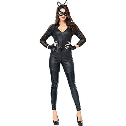 Qqwe Catwoman Cosplay Costume Cat Girl Fancy Dress Clothing