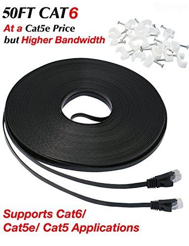 Ethernet cable, [50 Ft] Cat6 Flat Network Cable - Cable Modem Voice Over Ip