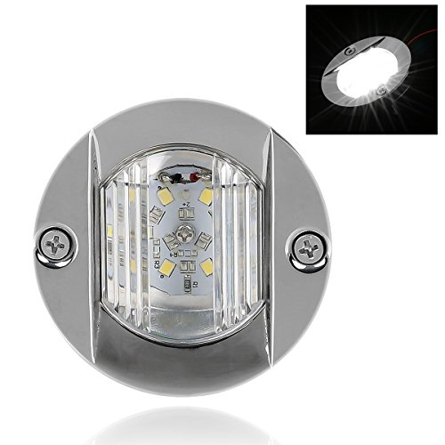 LEANINGTECH Marine Navigation Light Stainless Steel Boat Yacht Stern Light, 3 Inch Diameter Round Transom Mount Lamp, 6 LED S.S.304 (Led Round Transom Light)