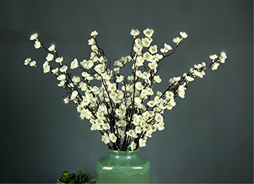 Skyseen 5Pcs Artificial Plum Blossom Branches Flowers Stems Silk Tall Fake Wintersweet Arrangements for Home Wedding Decoration,27.6 Inch (White) -