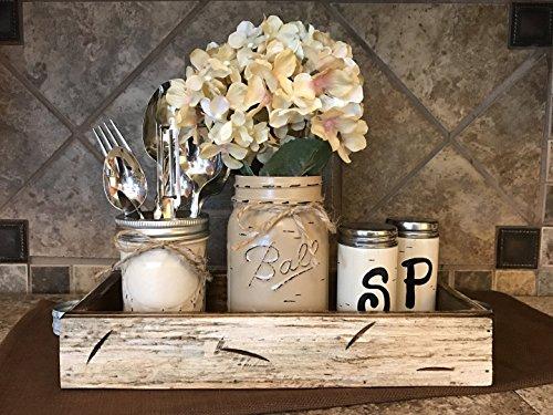 Ball Mason Jar KITCHEN Table Centerpiece SET Antique WHITE T
