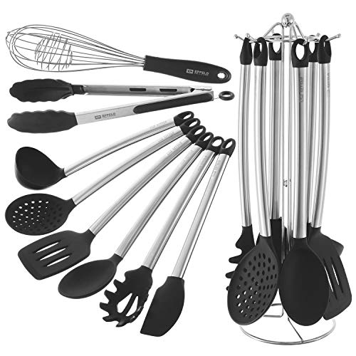 Kitchen Utensil Set With Holder - 8 Piece Silicone, Non-Stick, Cooking Utensils Set With Stainless Steel Stand - Serving Tongs, Spoon, Spatula Tools, Pasta Server, Ladle, Strainer, Whisk, Holder ()