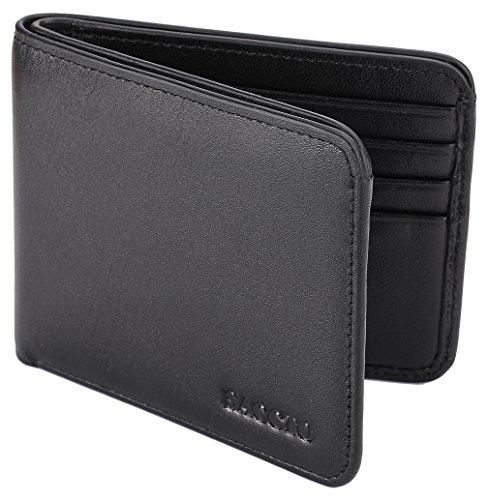 Mens Wallet Genuine Leather Bifold Front Pocket Wallet with ID Window Coin Pocket and RFID Blocking - (Photo Pocket Purse)