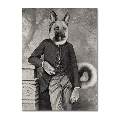 (Hans The German Shepherd by J Hovenstine Studios, 14x19-Inch Canvas Wall Art)