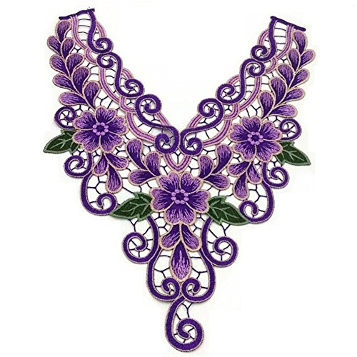 Embroidered Lace Purple Neckline Collar Applique Motif Venise Scrapbooking Embellishment Trimming Patches Sewing Accessories 1 Pc