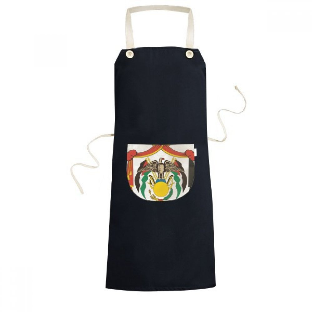 DIYthinker Jordan National Emblem Country Symbol Mark Pattern Cooking Kitchen Black Bib Aprons With Pocket for Women Men Chef Gifts