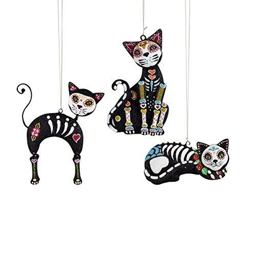 GALLERIE II 5-in. Metal Ornaments,Sugar Skull Cats,Assorted 3]()