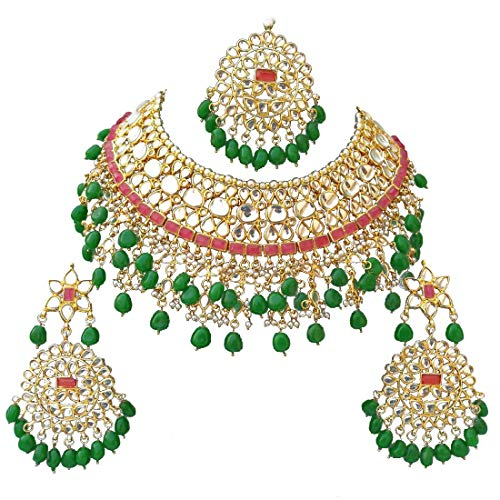 Retailbees Meena Kundan Indian Bridal Wedding Designer Gold Plated Pearls Choker Necklace Jewelry Set
