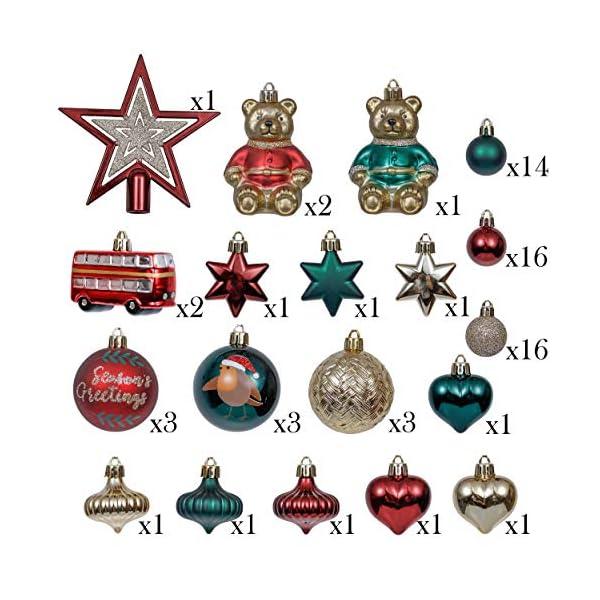 Valery Madelyn Palle di Natale 70 Pezzi di Palline di Natale, 3-10 cm di Strada di Campagna Rosso Verde e Oro Infrangibile Ornamenti di Palla di Natale 2 spesavip