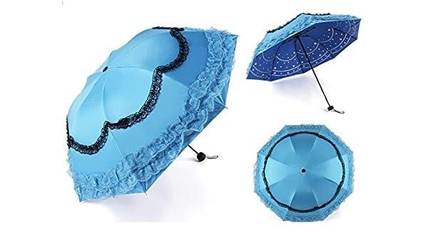 AMYMGLL Sun paraguas contra - UV de vinilo creativa paraguas del cordón de cuatro - Manual de la temporada tres veces paraguas de plástico 6 - Selección de colores , 3 ,