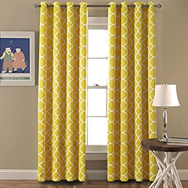 Flamingo P Light Blocking Moroccan Insulated Semi-Blackout Drapes Printed Window Curtains for Living Room, Grommet Top, Set of Two Panels, each 96 by 52- Mustard