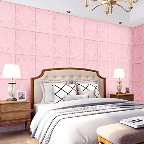 Gotian Lingge Three-Dimensional Art Wall Decoration Thickening Widening Waterproof Moisture-Proof Wall Stickers Home Decoration for Wood Plastic Glass Paint Tile (Pink)