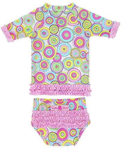 RuffleButts® Infant / Toddler Girls Lollipop Ruffled Rash Guard Bikini - Pink - 18-24m