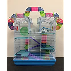 New Large Twin Tower Habitat Hamster Rodent Gerbil Mouse Mice Rat Wire Animal Cage Long Crossing Tube