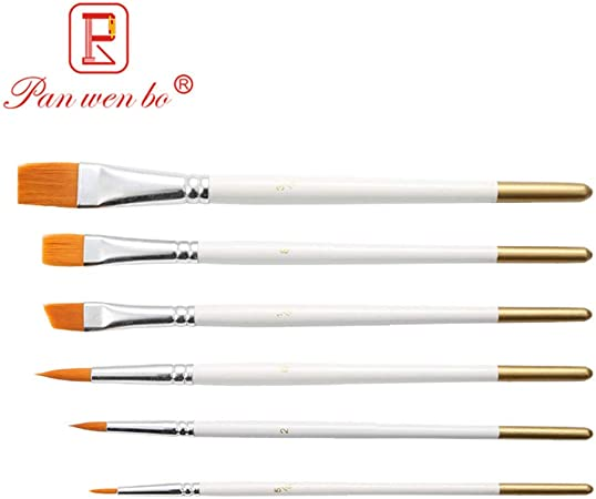 White Nylon Brush set of 6 for Watercolour and Acrylic