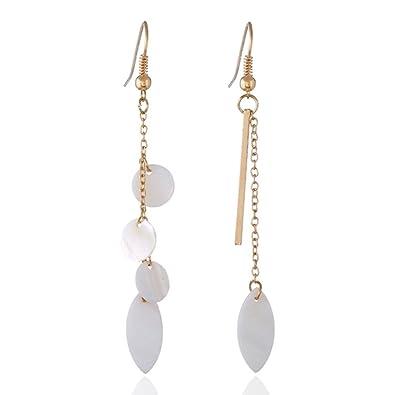 Amazon Com Lgxh Simple Long Tassel Shell Pendant Asymmetric Womens