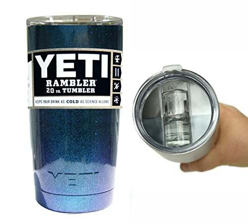 YETI Coolers 20 Ounce (20oz) (20 oz) Custom Rambler Tumbler Cup Mug with Exclusive Spill Resistant Lid and Bottle Opener Keychain (Chameleon Teal)