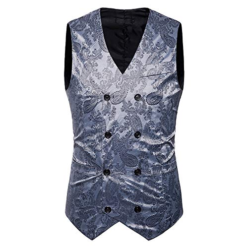 Waistcoat Autumn Double Fashion Winter Mens Jacket Breasted UJUNAOR Vest Coat Gray Top Print Gold qC4gEw