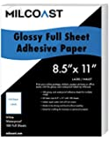 "Milcoast Full Sheet 8.5"" x 11"" Shipping Sticker Paper Adhesive Labels Glossy Waterproof for Laser or InkJet Printer (100 Full Sheet)"