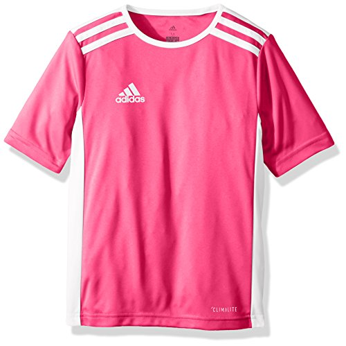 adidas Youth Soccer Entrada 18 Jersey, Shock Pink/White, Medium