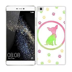 Funda carcasa para Huawei P8 diseño perro carlino estampado colores huellas borde blanco