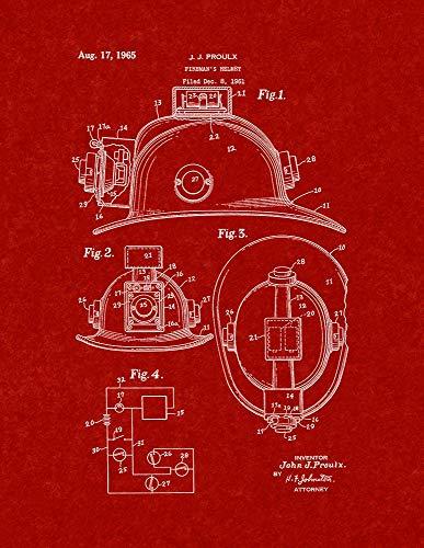 Burgundy Red Art Print - Fireman's Helmet Patent Print Burgundy Red (11