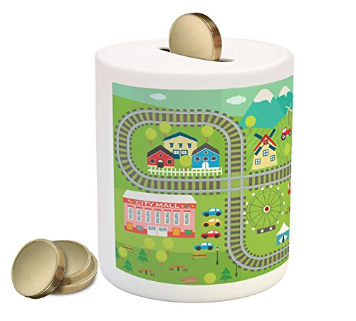 Kid's Activity Piggy Bank by Ambesonne, Train Tracks with Colorful Town School City Mall and Amusement Park Fair, Printed Ceramic Coin Bank Money Box for Cash Saving, - Park City Mall