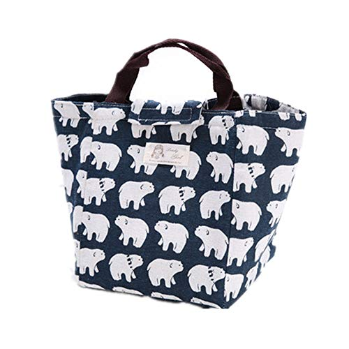 Pusheng Lunch Bag Oxford/Canvas Picnic Cooler Bag Waterproof Thicker Aluminum Foil Ice Bag Foldable Lunch Tote Bag for Women Kids Girls (Polar Bear)