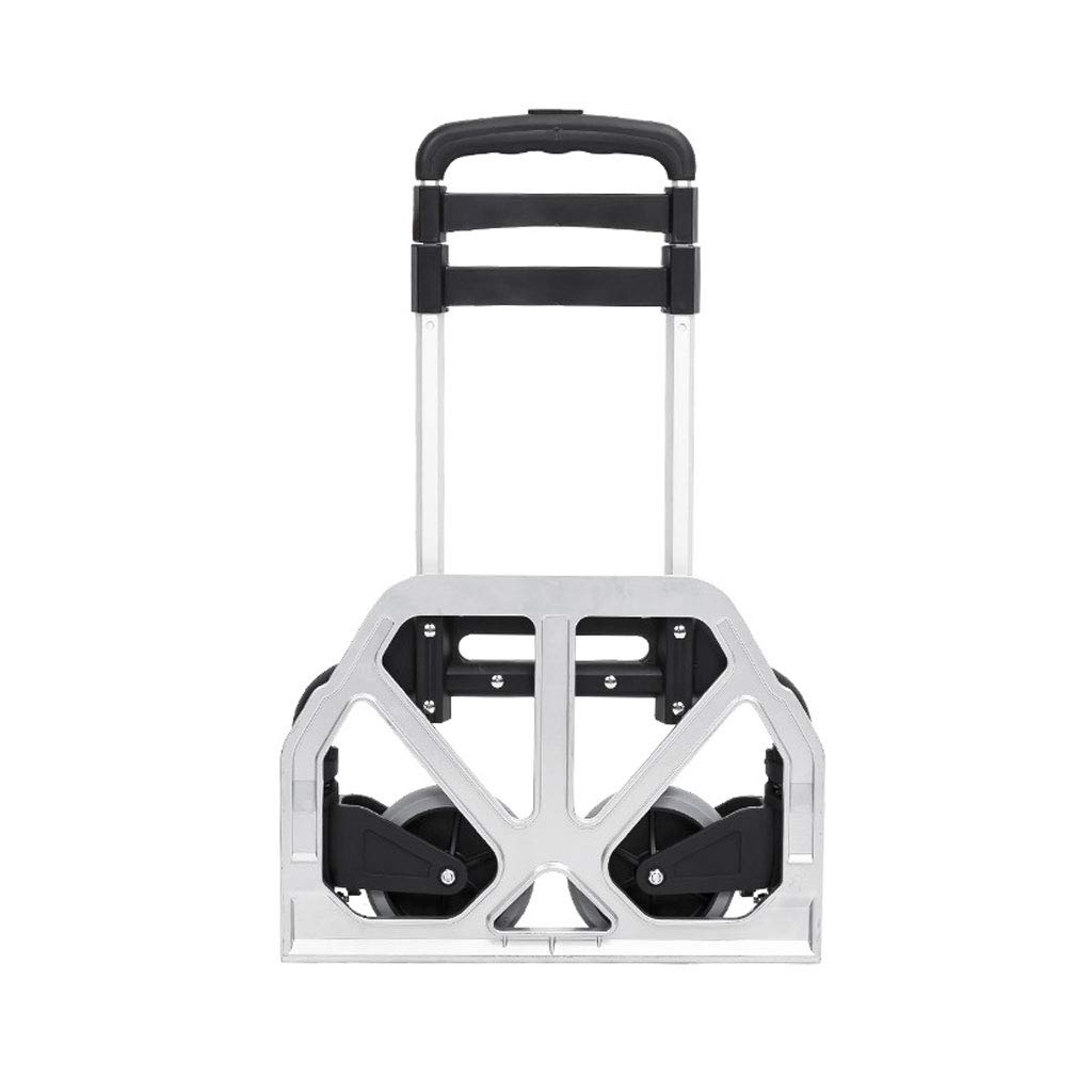 Color : Silver Lightweight Aluminium Alloy Grocery Truck with Telescopic Stainless Steel Three-fold Handle MINYA Foldable Portable Luggage Cart Hand Trolley 2-Wheels