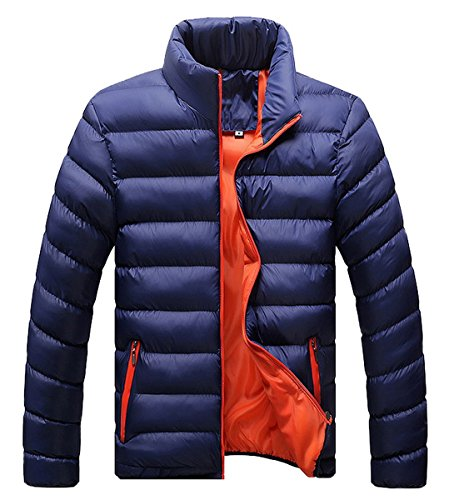 Thicken Winter Oscuro Warm 2 Slim Down Coat Para Jacket Ahatech Azul Warm Casual Hombre wSHUWE