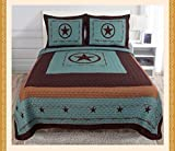 3 PCS Texas Star design barbed wire western Quilt comforter Bedspread set /King