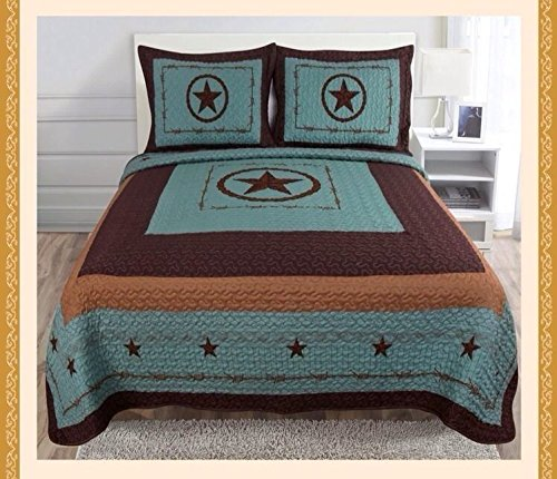 3 PCS Texas Star design barbed wire western Quilt comforter Bedspread set /King by unbrand