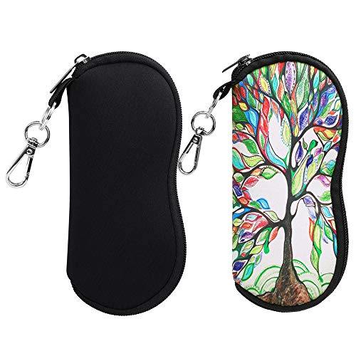 (2 Pack) Fintie Eyeglasses Case with Carabiner, Ultra Light Portable Neoprene Zipper Sunglasses Soft Case, Black+Love ()