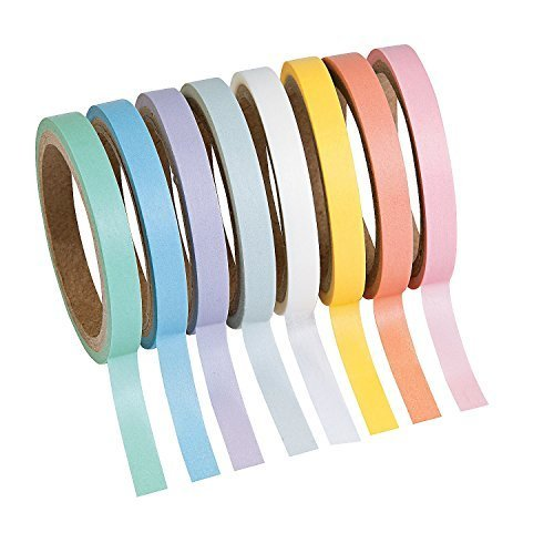 Pastel Solid Colors Washi Tape Set - 16 Ft. Of Tape Each Roll (8 Rolls Per Unit) Model: , Toys & Games for Kids & Child