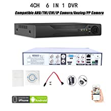 Quanmin 4CH H.264 HDMI Hybrid 6 in 1 DVR 960H Analog DVR+1080N AHD DVR+1080P ONVIF IP Camera NVR+TVI DVR+CVI DVR+PixelPlus Dvr Realtime Remote View Surveillance Security System Digital Video Recorder