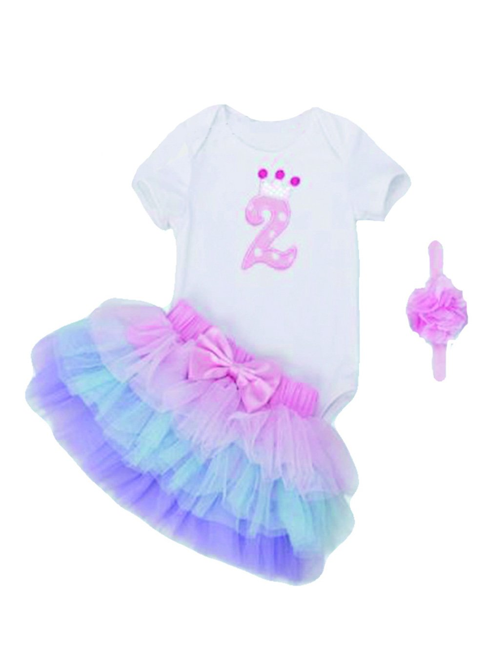Mayo Naisi Cumpleaños bebé niña 3piezas romper + Ballet falda + Cinta Vestido de Fiesta, 0-24Meses C1 Talla:XL(9-18 Monate)