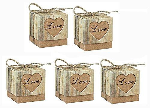 Wedding Candy Boxes - 123Arts 150 pcs Candy Boxes Love Rustic Kraft Bonbonniere With Burlap Jute Shabby Chic Vintage Twine Wedding Favor Imitation Bark Gift Box - 5 Cm x 5 Cm x 5 Cm -100pcs / 150pcs
