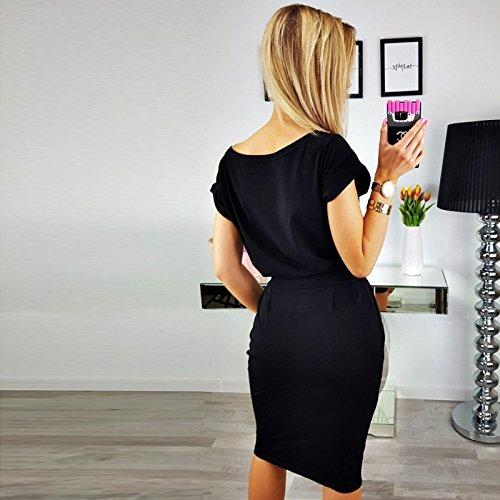 Vestido Trabajar Elegante Corta Las Vestido la para Negro lápiz el con Mujeres Ocasional de Correa Longwu de Manga del dnYqtxzdHI