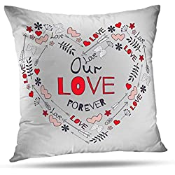 """WAYATO 18"""" x 18"""" Decorative Pillow Covers Valentine Day Greeting Card with Big Heart and Arrows Hearts Flowers Branches Double-Sided Pattern Invisible Zipper Applies to Living Room"""