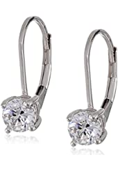 Platinum or Gold-Plated Sterling Silver Swarovski Zirconia (1cttw) Round Earrings