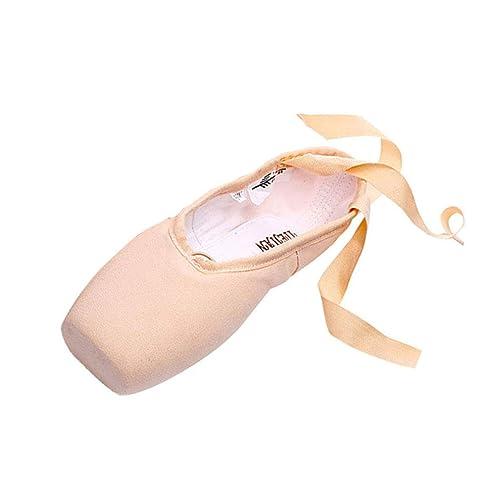 Zapatos de Punta Satén Zapatillas de Ballet con Cintas ...