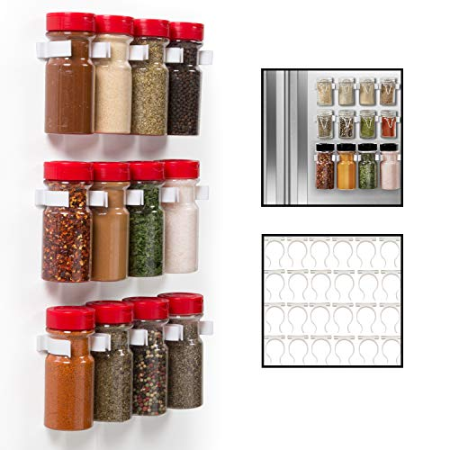 Magnetic Spice Rack Gripper Clips- Set of 24 Universal Spice Jar Clips - Easily Organize and Reorganize Dispensers- No Screws Needed