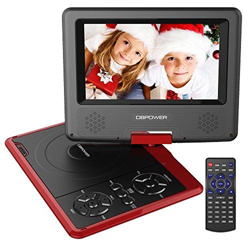 DBPOWER 7.5'' Tragbarer DVD-Player, 5 Stunden Akku, schwenkbarer Bildschirm, unterstützt SD-Karte und USB, mit Spiele-Joystick, Auto-Ladegerät - Rot